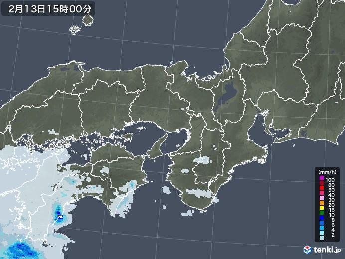 近畿地方の雨雲レーダー(2021年02月13日)