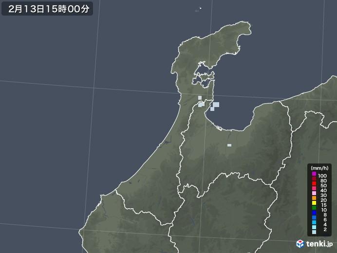 石川県の雨雲レーダー(2021年02月13日)