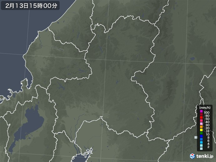 岐阜県の雨雲レーダー(2021年02月13日)