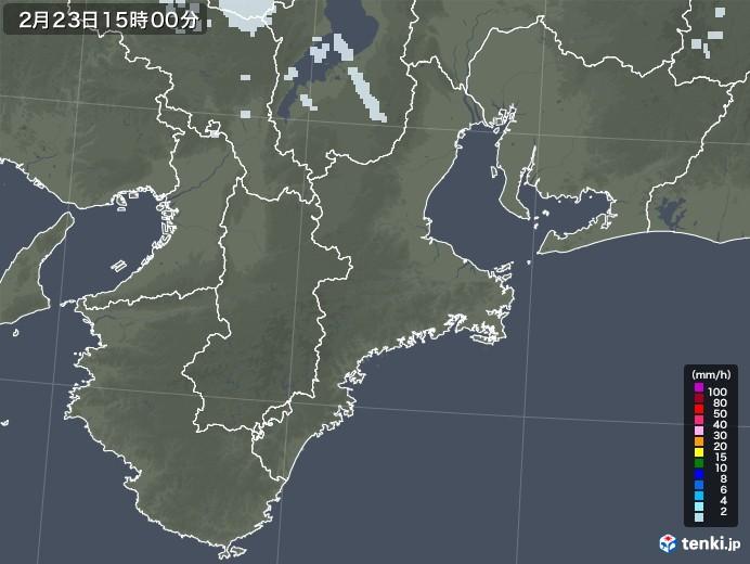 三重県の雨雲レーダー(2021年02月23日)