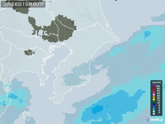 千葉県の雨雲レーダー(2021年02月26日)