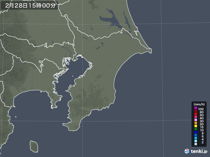 千葉県の雨雲レーダー(2021年02月28日)