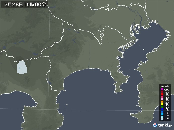 神奈川県の雨雲レーダー(2021年02月28日)