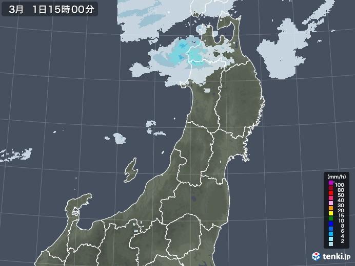東北地方の雨雲レーダー(2021年03月01日)
