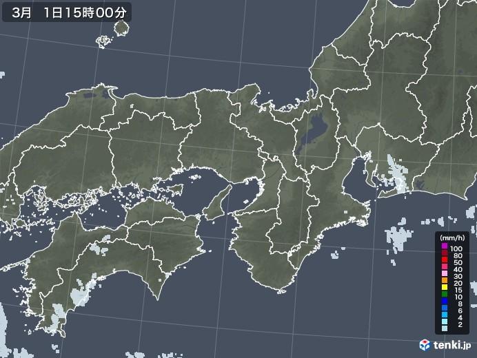 近畿地方の雨雲レーダー(2021年03月01日)
