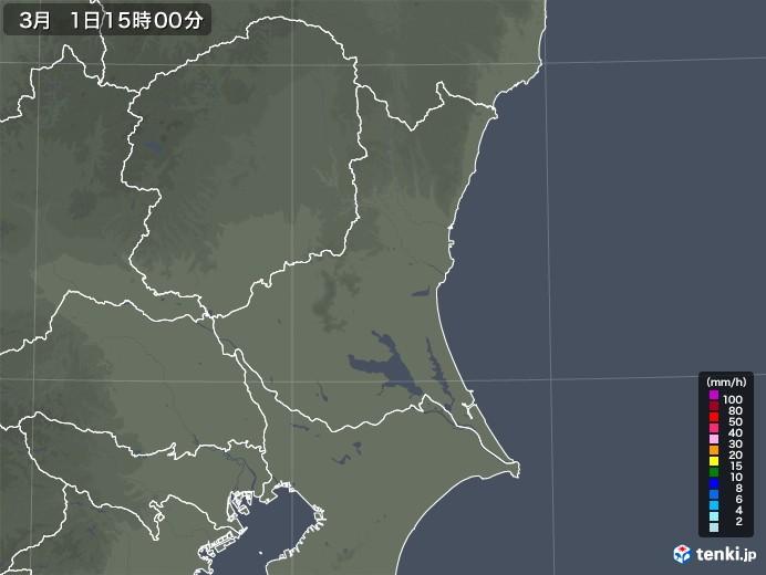 茨城県の雨雲レーダー(2021年03月01日)