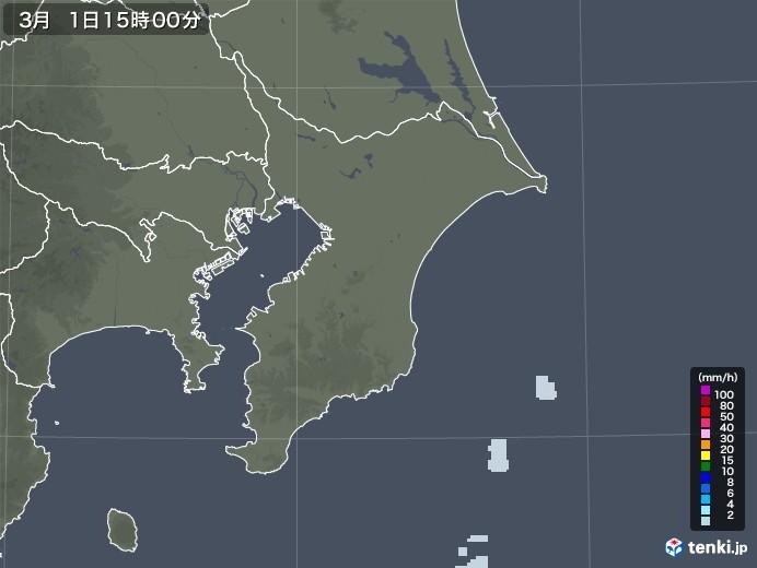 千葉県の雨雲レーダー(2021年03月01日)