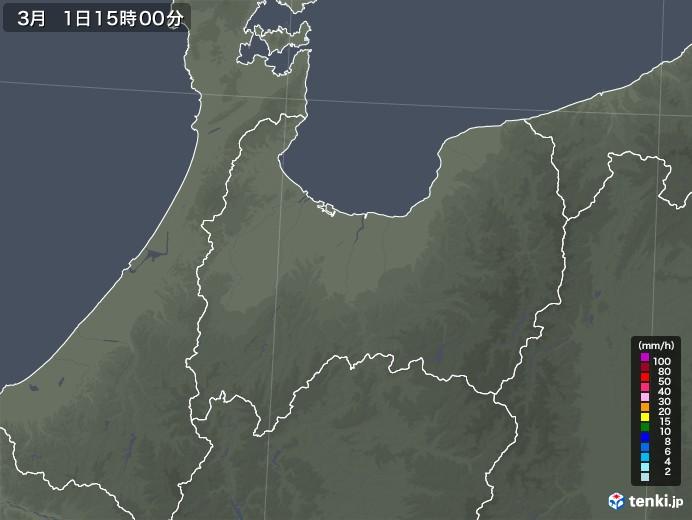 富山県の雨雲レーダー(2021年03月01日)