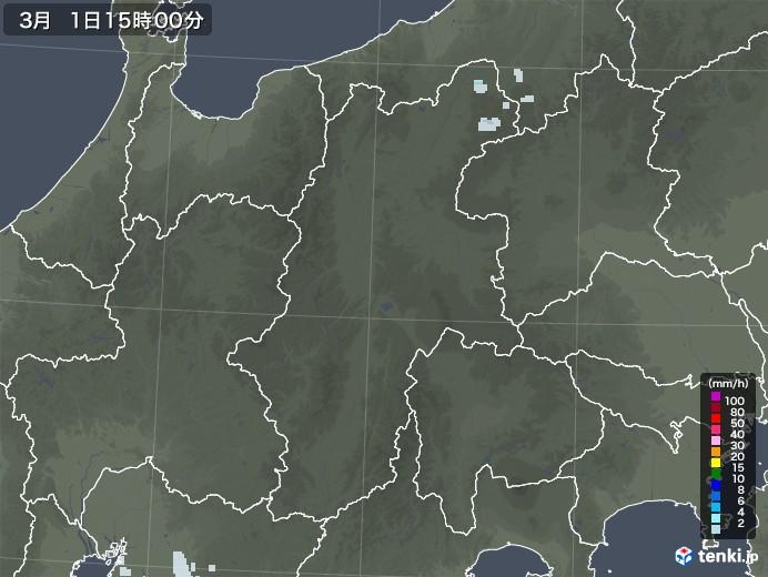 長野県の雨雲レーダー(2021年03月01日)