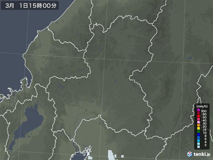岐阜県の雨雲レーダー(2021年03月01日)