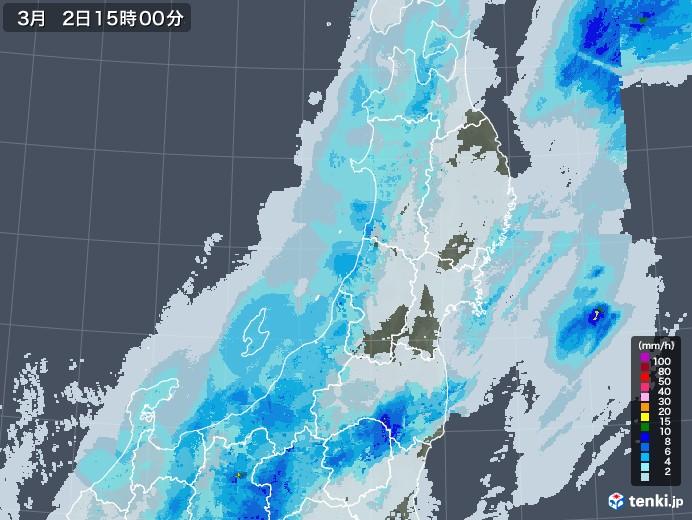 東北地方の雨雲レーダー(2021年03月02日)