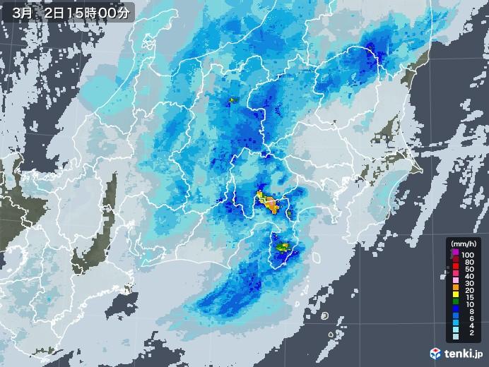 関東・甲信地方の雨雲レーダー(2021年03月02日)