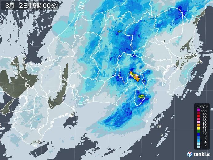 東海地方の雨雲レーダー(2021年03月02日)