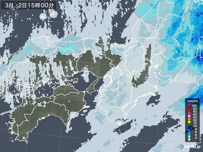近畿地方の雨雲レーダー(2021年03月02日)