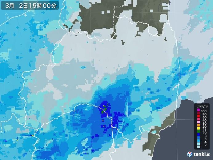 福島県の雨雲レーダー(2021年03月02日)