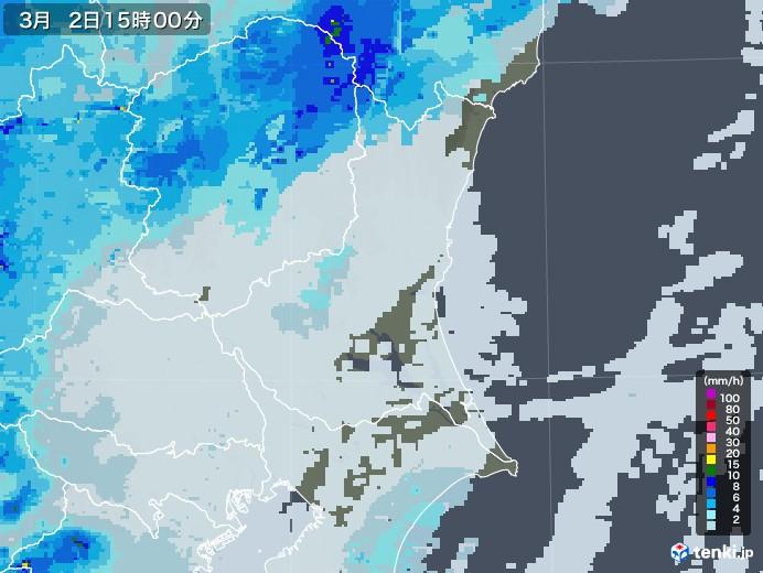 茨城県の雨雲レーダー(2021年03月02日)
