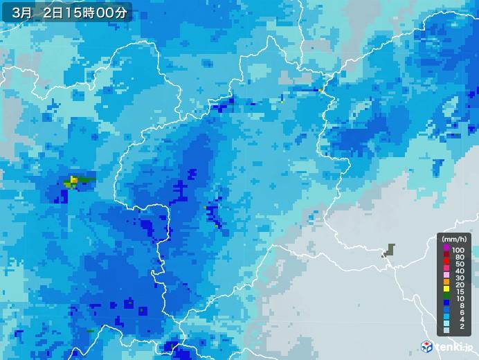 群馬県の雨雲レーダー(2021年03月02日)
