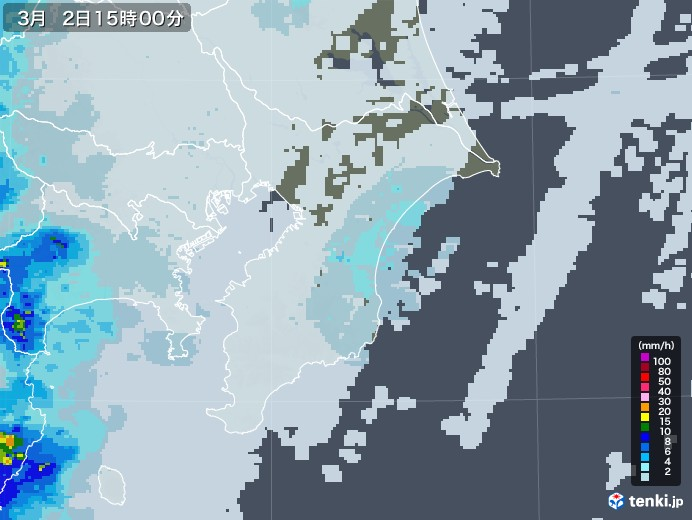 千葉県の雨雲レーダー(2021年03月02日)