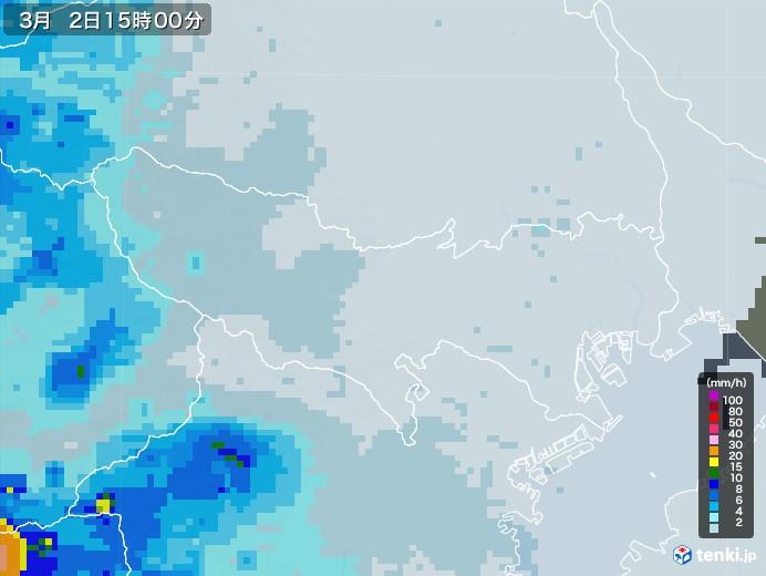 東京都の雨雲レーダー(2021年03月02日)