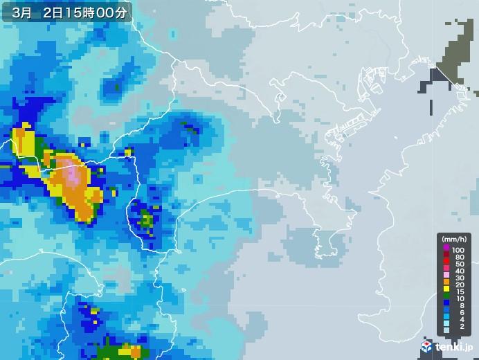 神奈川県の雨雲レーダー(2021年03月02日)
