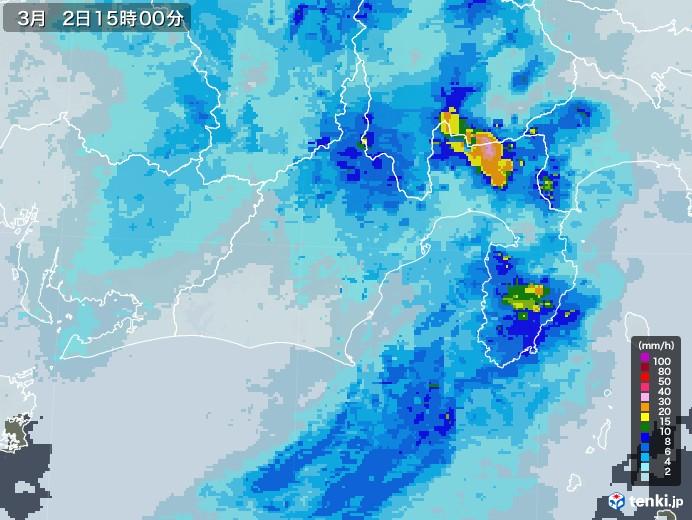 静岡県の雨雲レーダー(2021年03月02日)