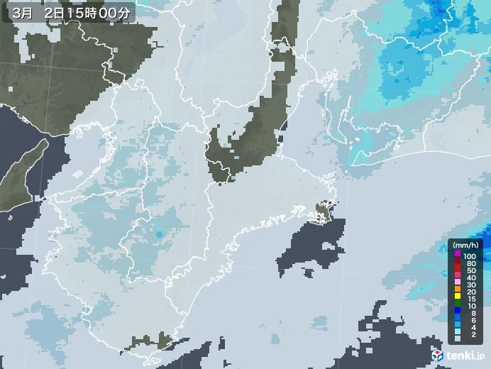 三重県の雨雲レーダー(2021年03月02日)