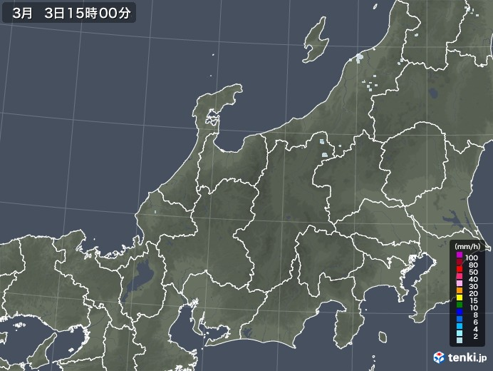 北陸地方の雨雲レーダー(2021年03月03日)