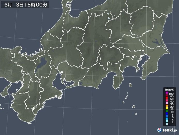 東海地方の雨雲レーダー(2021年03月03日)