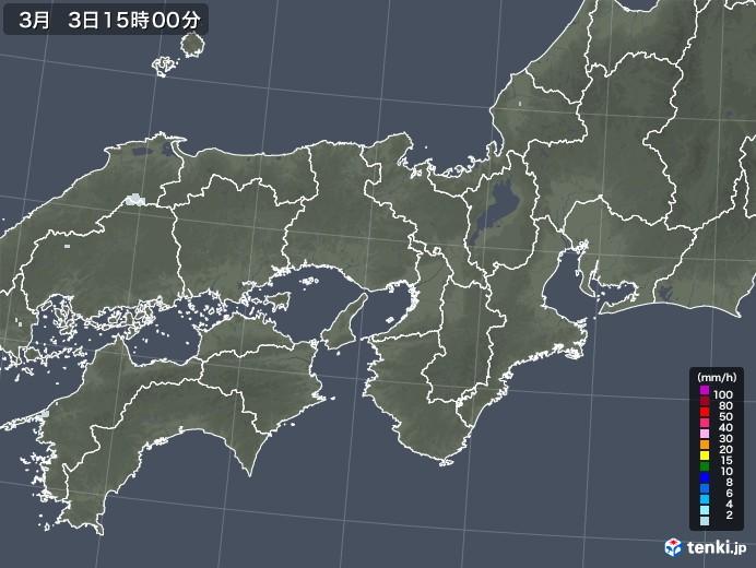 近畿地方の雨雲レーダー(2021年03月03日)