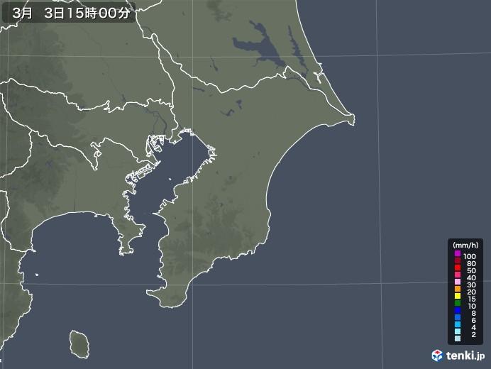 千葉県の雨雲レーダー(2021年03月03日)