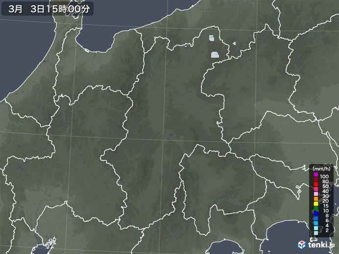長野県の雨雲レーダー(2021年03月03日)