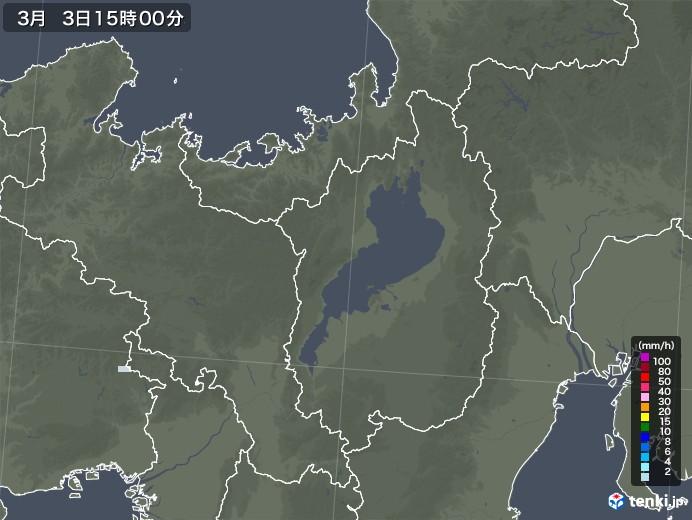 滋賀県の雨雲レーダー(2021年03月03日)