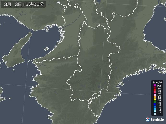 奈良県の雨雲レーダー(2021年03月03日)