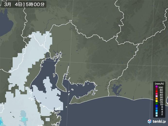 愛知県の雨雲レーダー(2021年03月04日)