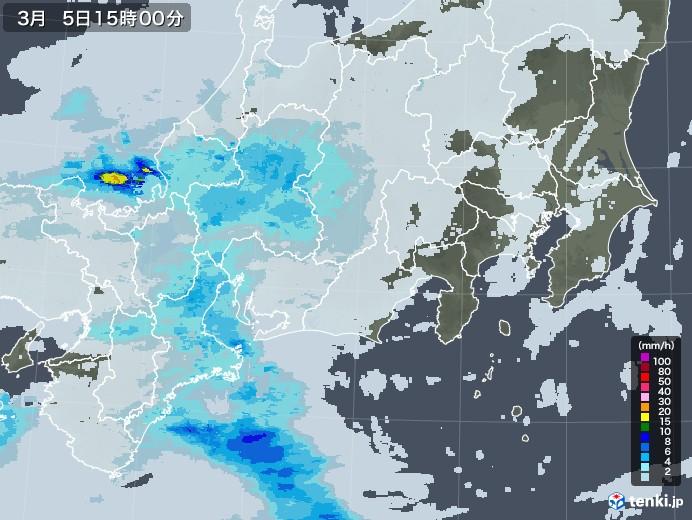 東海地方の雨雲レーダー(2021年03月05日)