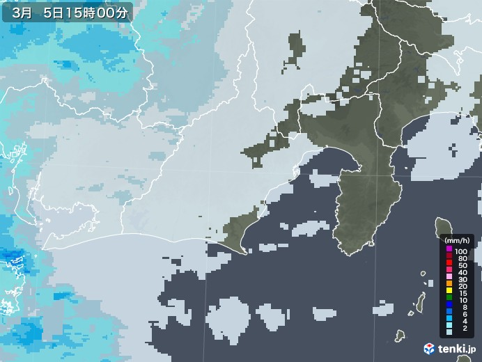 静岡県の雨雲レーダー(2021年03月05日)