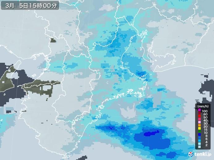 三重県の雨雲レーダー(2021年03月05日)