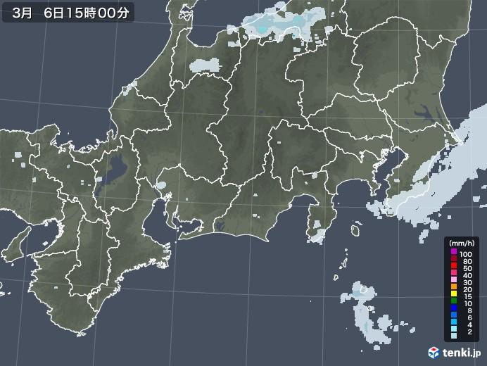 東海地方の雨雲レーダー(2021年03月06日)