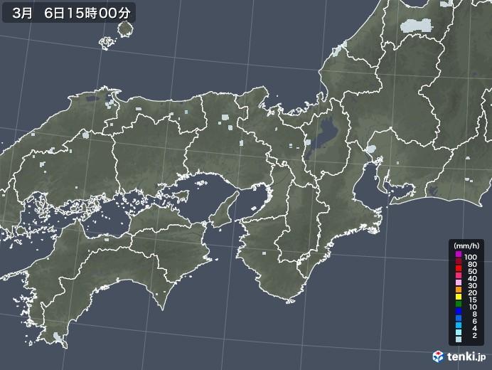 近畿地方の雨雲レーダー(2021年03月06日)