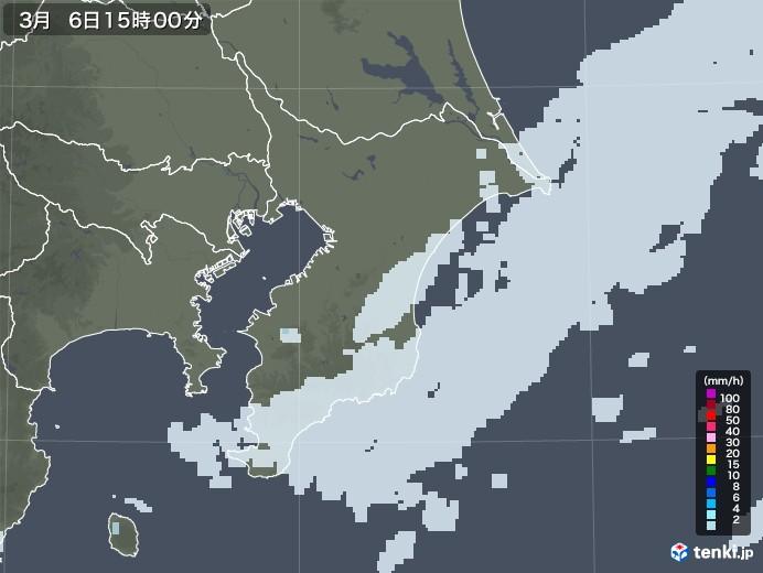千葉県の雨雲レーダー(2021年03月06日)