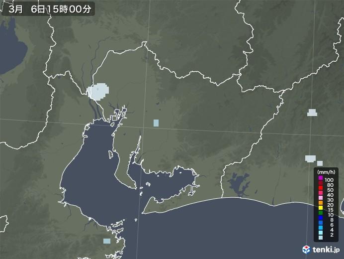 愛知県の雨雲レーダー(2021年03月06日)
