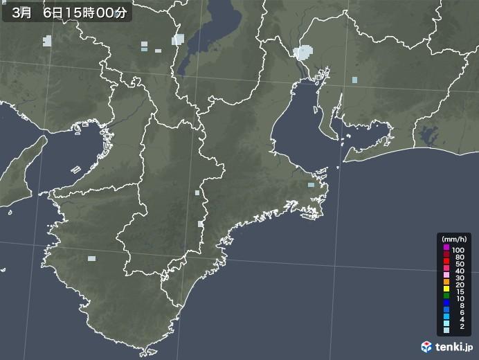 三重県の雨雲レーダー(2021年03月06日)