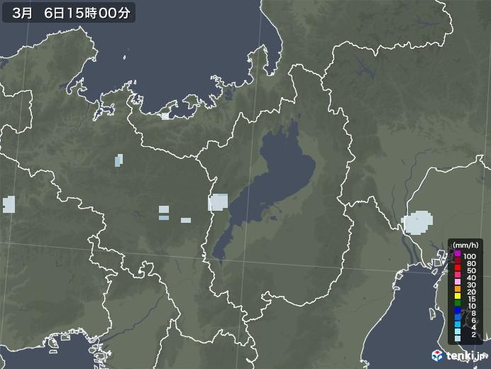 滋賀県の雨雲レーダー(2021年03月06日)
