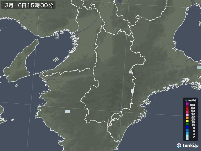 奈良県の雨雲レーダー(2021年03月06日)