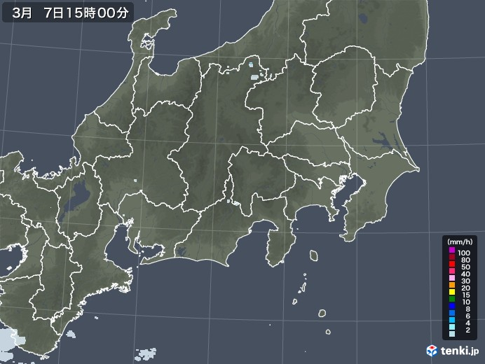 関東・甲信地方の雨雲レーダー(2021年03月07日)