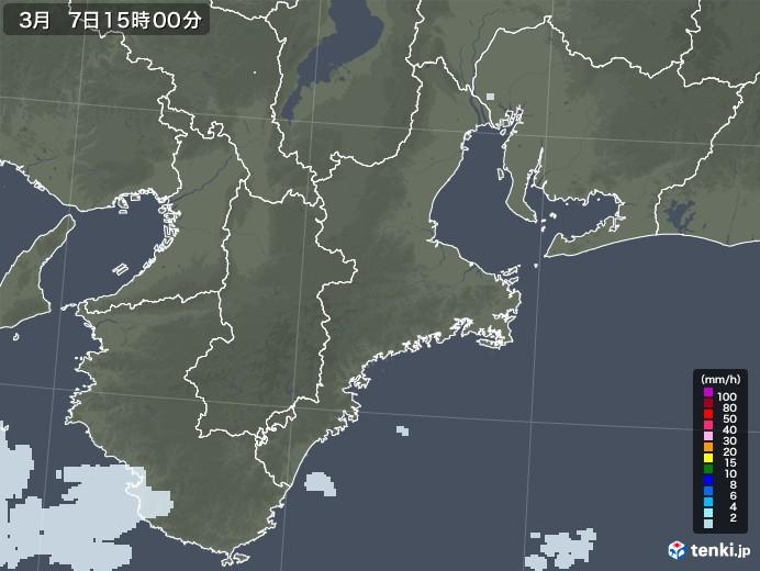三重県の雨雲レーダー(2021年03月07日)