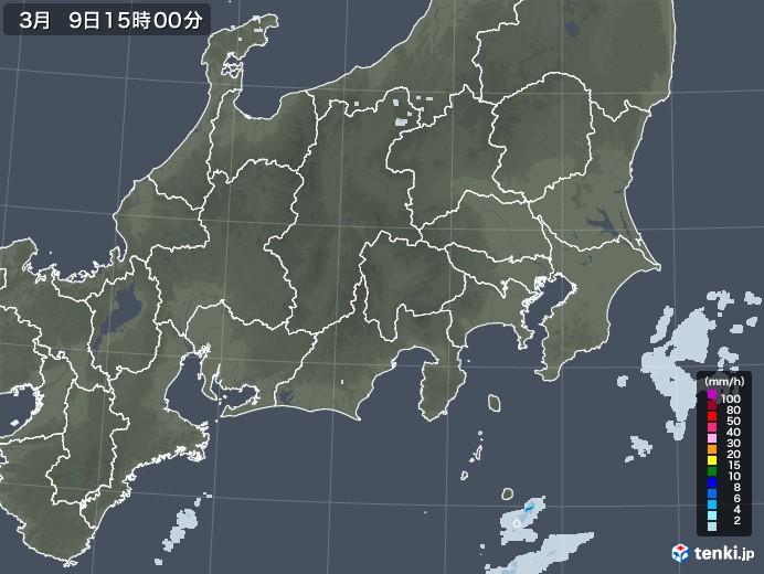 関東・甲信地方の雨雲レーダー(2021年03月09日)