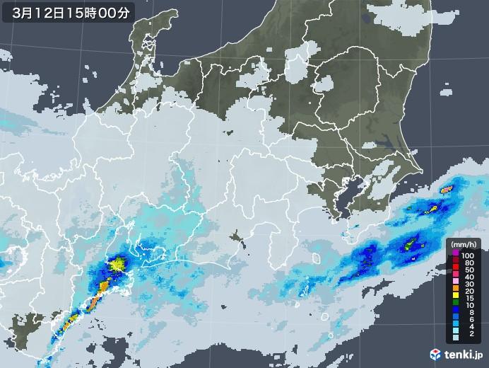 関東・甲信地方の雨雲レーダー(2021年03月12日)