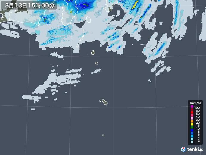 伊豆諸島(東京都)の雨雲レーダー(2021年03月13日)