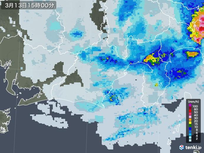 静岡県の雨雲レーダー(2021年03月13日)